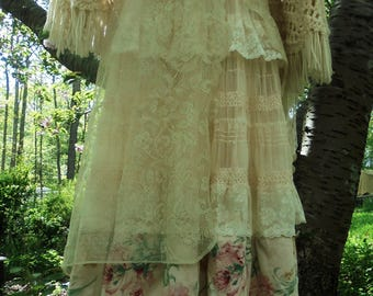 Cream floral dress wedding tulle lace  romantic boho outdoor bride small  by vintage opulence on Etsy