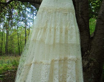 Lace crochet  dress wedding cream ivory  romantic boho outdoor fairytale small by vintage opulence on Etsy