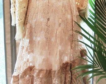 Crochet lace  dress wedding tea stained beige nude   romantic boho outdoor fairytale small by vintage opulence on Etsy