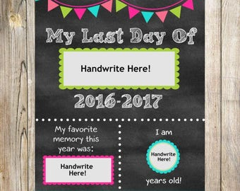Last Day of School Sign. Printable. Instant Download. Any Grade. 2016.2017. Fill in the Blanks. Chalkboard Printable. Pinks. School Sign