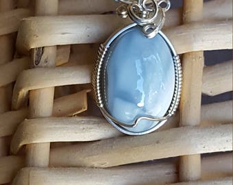Sterling Silver Owyhee Blue Opal Wire Wrap Pendant by Sapphireskies Designs