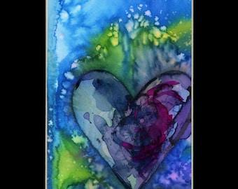 "Original Heart Watercolor Painting in mat, purple,blue,aqua,""Eternal Heart 21"" by Kathy Morton Stanion EBSQ"