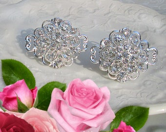 Crystal and silver, Wedding Shoe Clips, Rhinestone Shoe Clip, wedding accessory, Wedding shoes, Vintage style, shoe clip ons