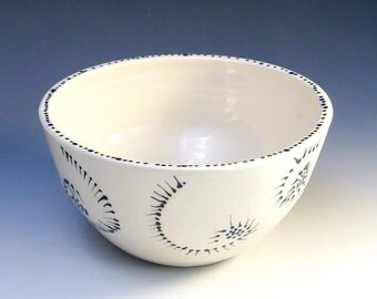 Pottery Bowl, Single-Serving Bowl, Hand-Painted & Hand-Thrown White Bowl