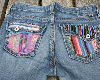 OOAK embellished flares bell bottoms hippie jeans Guatemalan fabric Guatemala embroidered repurposed remade Big Star flares Sweet