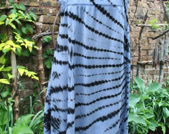 Tie dye swing dress hippie embroidered India large cotton rayon Deadstock blue black