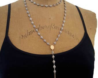 Long Silver Bead Chain Gold Cross Rosary Necklace, Wrap Around Long Bead Pendant Necklace, Modern Rosary Y Necklace, Religious Jewelry