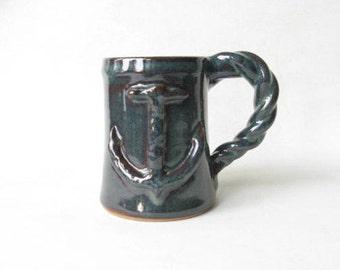 Nautical Mug with Anchor and Rope Handle, Anchor Mug, Mug for Sailor