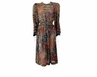 Vintage Animal Print Sheer Dress  Fall Color Dress // Long Vintage Style Dress // Lawrence Greer Vintage Dress // Size 10 //121