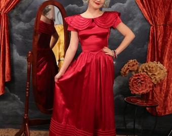 Vintage 1930s - 40s Art Deco Cranberry Satin Gown - Size X Small