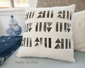 Quilted and Handprinted Modern Pillow 17x17 Toss Pillow Neutral Decor Triangle and Lines Print Hostess Gift for Him Her Gift White Linen Zip