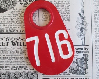 Vintage Red Doublesided Cow Tag #716