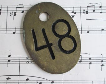 Large Double Sided Vintage Brass Cow Tag Number 48
