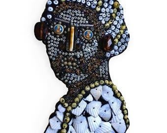 Beaded Folk Art Woman Portrait Contemporary Wall Art Assemblage