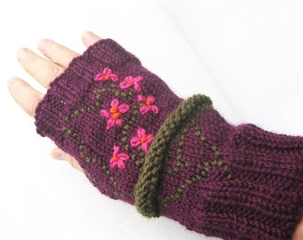 Knit Fingerless, Knitted Gloves, Hand Warmers, Arm Warmers, Wrist Warmers, Embroidered Fingerless, Purple Fingerless, Fingerless Gloves