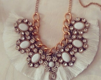 Swan Granny, Spring Summer Folk Necklace with silk tassels, inspired by a Fairytale.