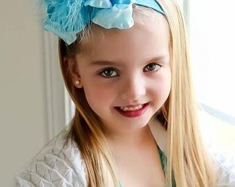 blue baby headband, light blue pageant wear, Jumbo hair bows, hair bows for girls, turquoise headband, infant headbands, double ruffle bow