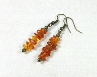 Copal Amber Antique Bronze Earrings
