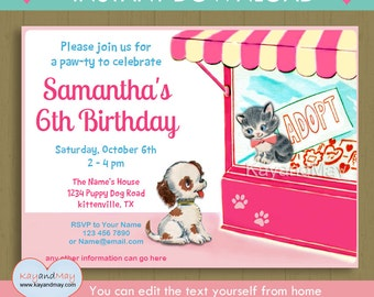 Pawty birthday invitation / INSTANT DOWNLOAD cute cat kitten & puppy dog pet adoption party #P-23- editable PDF you can edit text from home