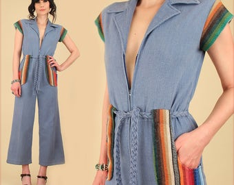 Vintage 70's Jumpsuit // Blue Chambray Blanket Details // Cropped Bell Bottom // Wide Leg // HiPPiE BoHo 27 Waist S/M