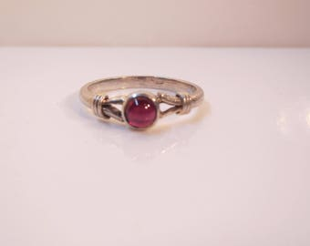 Sterling Silver and Bezel Set Ruby Ring - Size 8.5     1430