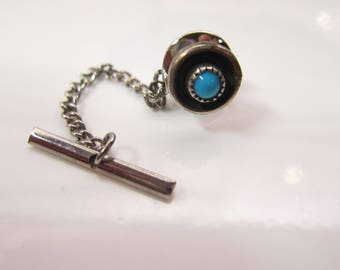 Vintage Native American Sterling Silver and Turquoise Tie Tack Pin and Chain     1446