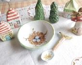 Ceramic Stoneware Clay Herb Bowl or Salt Cellar with Tiny Ceramic Spoon