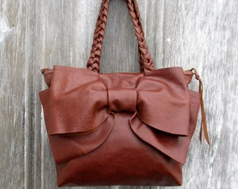 Leather Bow Petite Handbag in Distressed Chestnut Leather by Stacy Leigh