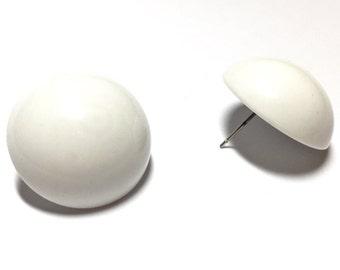 White Studs | White Retro Button Stud Earrings | Vintage Disc Earrings | vintage lucite studs