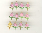 12 Vintage Brass Flower Charms ~ Hand Painted Pink Patina ADORABLE 15x9mm
