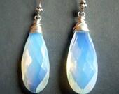 Last Pair, Opalite Earrings Sterling Silver, Briolette Earrings, Blue Opal Glass Teardrop Dangle, Sea Glass Earrings, High Quality Opalite