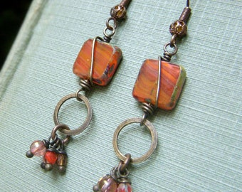 Boho Dangle Earrings, Czech Glass Earrings on Brass, Tablecut Glass Earrings, Square Wirewrapped Dangle Earrings, Sunset Orange Earrings
