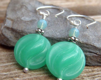 Seafoam Opal Jewelry, Sterling Earrings, Seafoam Czech Glass Earrings, Glass Dangle Earrings, Opalescent Green Earrings