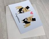 Wedding Card - Wedding French Bulldogs Greeting Card - 2 Grooms Wedding Card - French Bulldog lover card - Gay Wedding Card - Gay Marriage