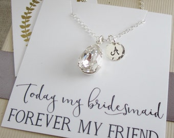 Clear Crystal necklace Gold or silver Gift for bridesmaid necklace Personalized silver Initial necklace Thank you for being my Bridesmaid