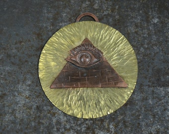Evil Eye Pendant in Copper and Brass, All Seeing Eye, Eye of Providence