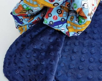 Toddler Blanket Transportation Cotton with Navy Dot Minky