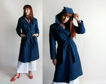 Vintage Hooded Coat - 1970s Long Navy Blue Jacket with Large Hood - Winter Style - Belted Coat - Medium Large