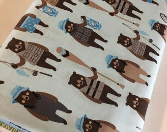 Brawny Bears Fabric, Fat Quarter to Yardage, Quilting Fabric, Bears Fabric, Fishing, Outdoor, Boy Quilt, Bears in Denim, Choose the cut