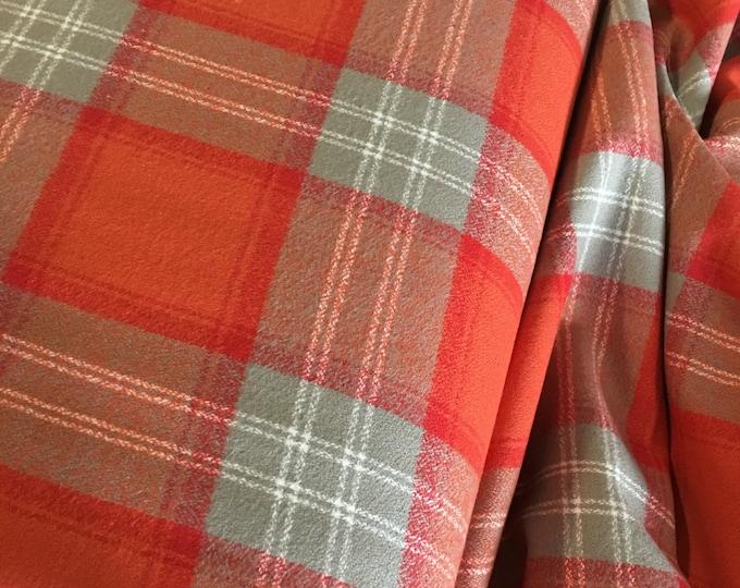 Soft Flannel, Mammoth Plaid Flannel, Flannel Shirting, Shirting fabric, Orange flannel, Robert Kaufman, Mammoth Flannel in Orange Spice 322