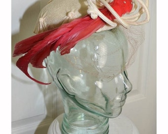 Vintage 1940's Woman's Hat with Red Feather Bird