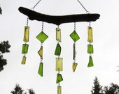 Upcycled Recycled Glass Wine Bottle Pieces Green and Amber and Reclaimed Driftwood Dangling Glass Art