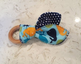 Wooden Teething Ring with Crinkle and Minky, Bunny Ear Teether, All Natural, replacement bunny ears