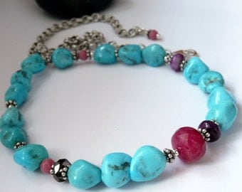 Artisan Sleeping Beauty Turquoise Nugget Ruby Mixed Gemstone Sterling Silver OOAK Southwestern Boho Gift for Her Choker Necklace