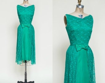 1960s Green Dress --- Vintage Lace Holiday Dress