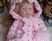 Crochet Hooded Cape Blanket for 9.5 inch Doll Mini La Newborn Pink with sparkle