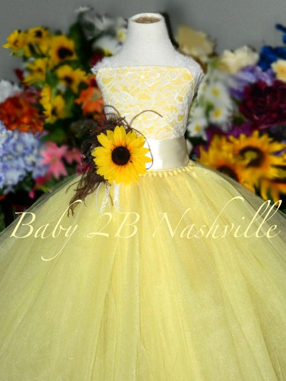 Sunflower Dress Maize Yellow Dress Flower Girl Dress Lace Dress Summer Dress Baby Dress Toddler Dress Girls Dress