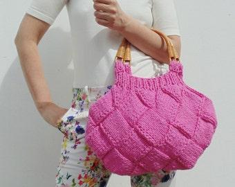 Hot Pink Cotton Beach Bag, Knit Hobo Bag Purse, Women Pink Handbag, Summer Bag, Hand Knit Tote Bag, Knitted Boho Top Handles Bag