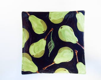 Ceramic Tray Serving Tray Square Tray Pear Medium Square Minimalist Tray Green Pottery Appetizer Tray Serving Platter Hostess Gift for Her P