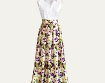 Gathered or pleated floral maxi full ball gown satin skirt -  ivory and purple rose print - fully lined, custom size and length
